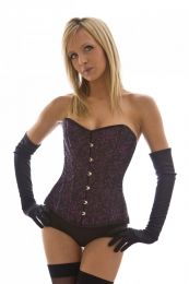 Elegant overbust corset in purple brocade