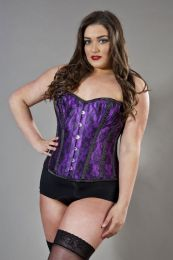 Elegant overbust plus size corset in purple satin and black lace overlay