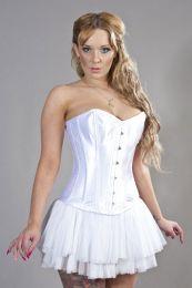 Elegant overbust corset in white satin