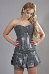 Elegant overbust steel boned corset in black bond