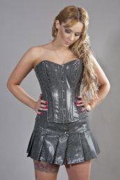 Elegant overbust steel boned corset in black bond