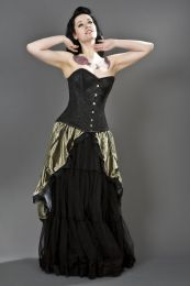 Elegant overbust steel boned corset in black satin & spider lace overlay