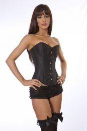 Elegant overbust steel boned corset in black taffeta