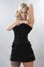 Elegant overbust steel boned corset black flock and black fur
