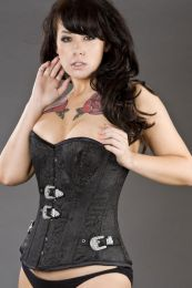 Elegant overbust steel boned corset with diamante buckles