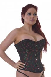 Elegant overbust steel boned corset in cherry brocade