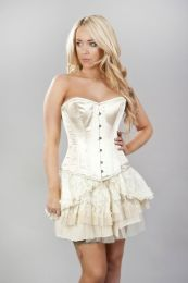 Elegant overbust steel boned corset in cream snakeskin satin