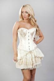 Elegant overbust steel boned corset in cream snakeskin satin