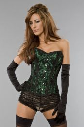 Elegant overbust steel boned corset in green satin & black lace overlay