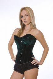 Elegant overbust steel boned corset in green velvet