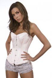 Elegant overbust steel boned corset in pink satin
