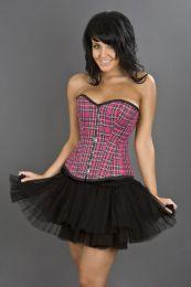 Elegant overbust steel boned corset in pink tartan