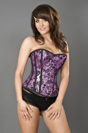 Elegant overbust steel boned corset in purple lurex flock
