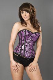 Elegant overbust steel boned corset in purple lurex flock
