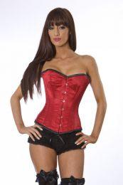Elegant overbust steel boned corset in red satin