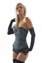 Elegant overbust steel boned corset in turquoise brocade