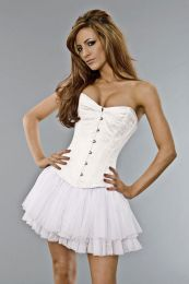 Elegant overbust steel boned corset in white brocade