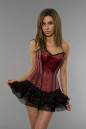 Elegant overbust waist training corset in burgundy and black satin