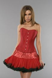 Elegant overbust waist training corset in red taffeta