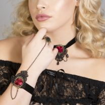 Elegant Black Velvet Lolita burgundy roses and bracelet with ring