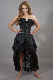 Elizabeth black evening corset dress in taffeta