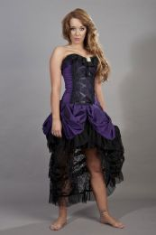 Elizabeth vintage goth corset dress in purple taffeta