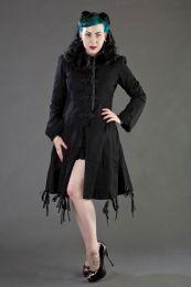 Elizabeth ladies gothic coat with hood in black twill