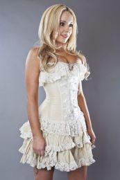 Elizabeth overbust bridal corset in cream taffeta