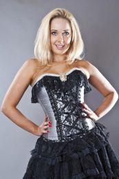 Elizabeth overbust vintage corset in silver silk