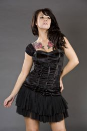 Elizabeth black gothic top in stretch velvet