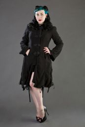 Elizabeth women's gothic coat with hood in black fleece