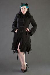 Elizabeth women's gothic coat with hood in black fleece