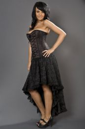 Elizium high low skirt in black satin and black lace overlay