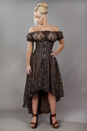 Elizium long burlesque skirt in brown satin and brown lace overlay