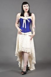 Elizium long burlesque skirt in cream satin and cream lace overlay