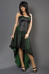 Elizium maxi skirt in green satin and black lace overlay