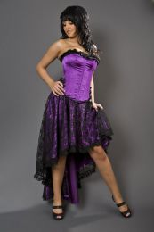 Elizium long burlesque skirt in purple satin and black lace overlay