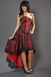 Elizium high low burlesque skirt in red satin and black lace overlay