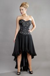 Elizium victorian high low skirt in black chiffon