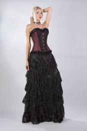 Elizium overbust corset in burgundy taffeta