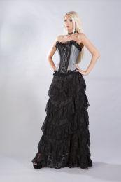 Elizium overbust corset in silver taffeta