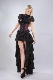 Elizium steel boned underbust corset in burgundy taffeta