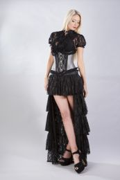 Elizium steel boned underbust corset in silver taffeta