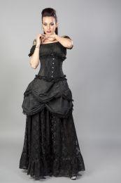 Elizium steel boned underbust corset in black taffeta