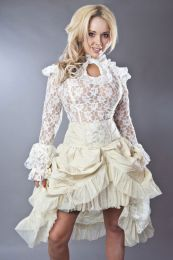 Elvira knee length burlesque skirt in cream taffeta