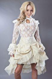 Elvira knee length burlesque skirt in cream taffeta