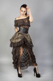 Elvira long gothic victorian skirt in brown gold scroll and coffee matte