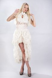 Dita sleeveless gothic top in cream stretch lace