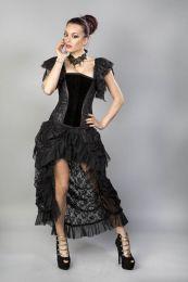 Emily overbust burlesque corset in black velvet flock