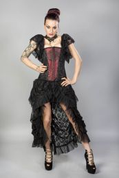 Emily overbust burlesque corset in red king brocade